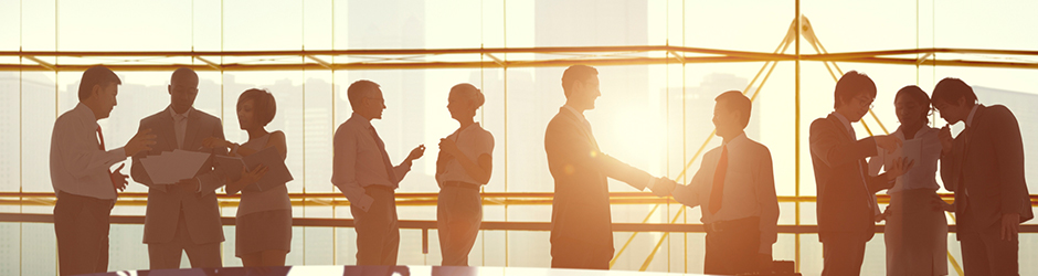 A group of silhouetted business people in an office shaking hands.